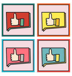 Set of thumbs up like social network facebook etc vector