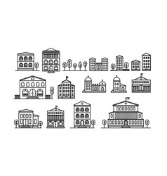 set of urban and suburban houses icons vector image