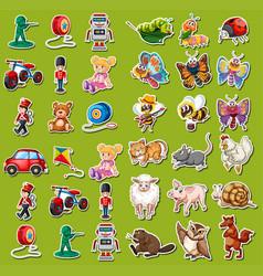 set toys sticker vector image