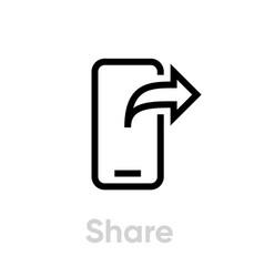 Share phone editable line vector