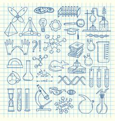sketched science or chemistry elements set vector image