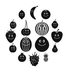 smiling fruit icons set simple style vector image