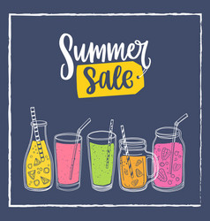 square banner template with summer sale lettering vector image
