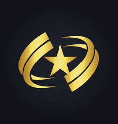 Star america circle abstract gold logo vector