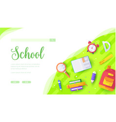 stationery backpack alarm clock schoolchild vector image