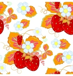 Strawberries and flowers wrapping seamless vector