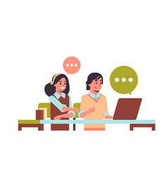 students couple using laptop girl and guy sitting vector image