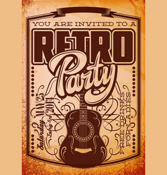 stylish color retro party template with guitar vector image