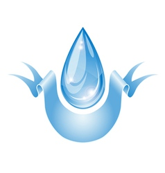 Stylized water drop with ribbon vector image