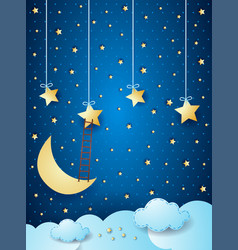 Surreal cloudscape with moon stars and ladder vector