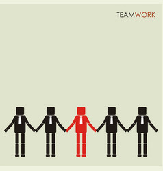 Teamwork concept row business people holding vector