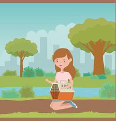 teenager girl cartoon with dog kennel design vector image