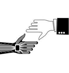 the hand of a person and a robot pointing to vector image