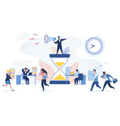 Time management concept multiracial office workers vector