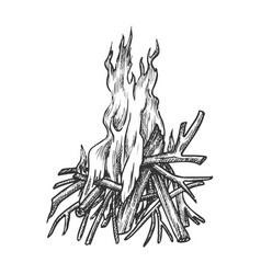 traditional burning timbered stick vintage vector image