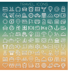 Travel line icons set vector