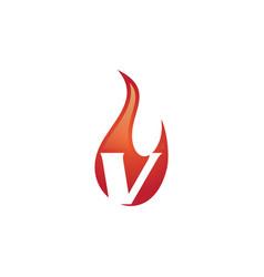 v letter flame logo vector image