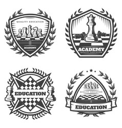 Vintage monochrome chess emblems set vector
