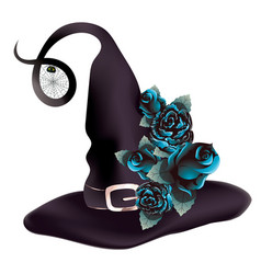 witch hat with blue roses vector image