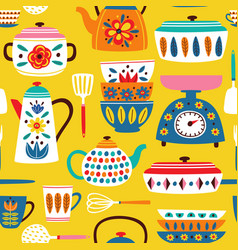 yellow seamless pattern with vintage kitchen vector image
