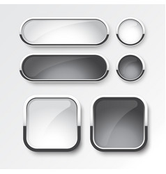 black and white button set design vector image