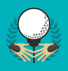 golf gloves ball on tee label vector image vector image
