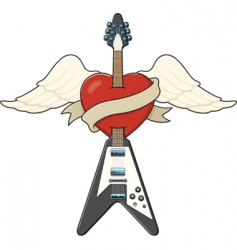 guitar and heart tattoo vector image vector image