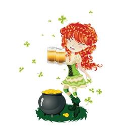 Leprechaun Girl with Beer2 vector image