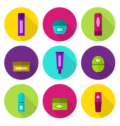 lip balm tubes and jars flat icon set vector image vector image
