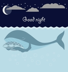 Ocean sleeping whales Good night card vector image vector image