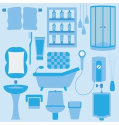 Set of furniture in bathroom vector image vector image