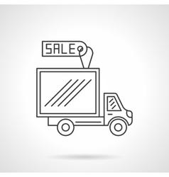Van for sale flat line design icon vector image
