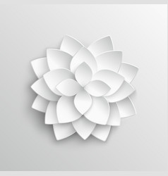 White paper 3d lotus flower in origami style vector