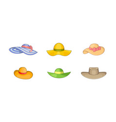 woman hat icon set cartoon style vector image