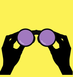 binoculars in hands vector image vector image