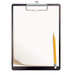 black clipboard with blank sheets of paper vector image vector image