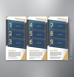 Brochure leaflet design tri-fold template vector image