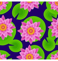 Dark background seamless pattern with lotus vector image vector image