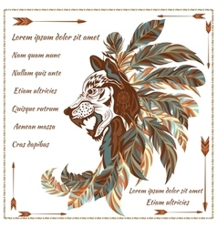 Envelope in ethnic style image of the wolf with vector image vector image