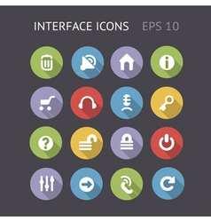 Flat icons for interface vector image vector image