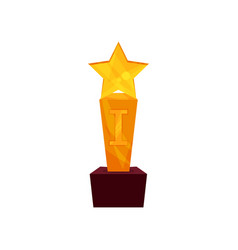 gold star award on a stand golden first place vector image vector image