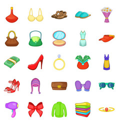 purchases icons set cartoon style vector image vector image