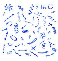 set of blue watercolor arrows vector image