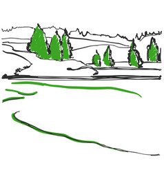 Spring in the woods sketch hand drawn landscape vector
