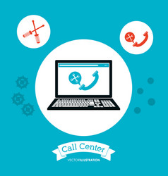 call center computer technology online vector image vector image