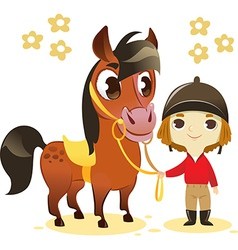 Child Stand with Small Horse vector image