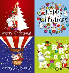 Christmas card in four designs vector image vector image
