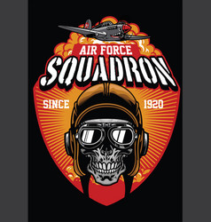 pilot air force squadron vector image vector image