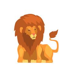 Powerful lion lying wild predatory animal vector