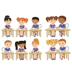 Set funny pupils sit on desks read draw clay vector image vector image